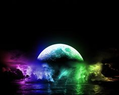 A really cool and colorful moon and lightning.