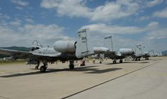 Four U.S. Air Force A-10 Thunderbolt II aircraft assigned to the 354th Expeditionary Fighter Squadron sit on a ramp during a theater security package deployment at Sliac Air Base, Slovakia, May 18, 2015. More than 40 Airmen from the 354th EFS deployed to Slovakia to participate in a theater security package in support of Operation Atlantic Resolve. (U.S. Air Force photo by Senior Airman Dylan Nuckolls/Released)