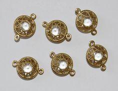 Vintage Encased Brass Gold Filigree Clear Connector Bead 18mm   eBay