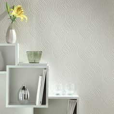 This large scale geometric wallpaper design is bold and modern, plus this home wallpaper is paintable to match any decor