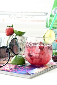 Cherry Limeade. Ingredients for Cherry Limeade:(makes 4 servings)  1 pint (750mL) of S.Pellegrino sparkling mineral water 1/2 cup lime juice 12 ounces of  cherries, rinsed and pitted 1/2 cup honey or agave 1 lime, sliced for garnish