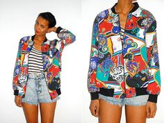 Vtg Coloful Baroque Printed Zip Up Light Jacket by LuluTresors, $32.99