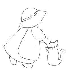Las chorradikas de Laury: Sun Bonet con gatito, para patchwork o redwork