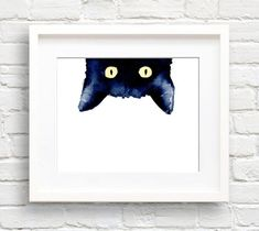 Stiekeme Black Cat  Art Print  muur Decor  aquarel