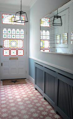 Pink pradena tile stained glass tiled hallway, bert, may til Pink Hallway, Hallway Colours, Tiled Hallway, Victorian Hallway Tiles, Modern Hallway, Bert And May Tiles, Hall Tiles, Modern Classic Interior, Hallway Designs