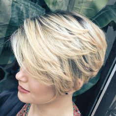 Blonde Layered Pixie Bob