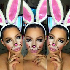 bunny halloween makeup - Google Search Bunny Halloween Makeup, Bunny Makeup, Looks Halloween, Kids Makeup, Clown Makeup, Diy Halloween Costumes, Costume Makeup, Halloween Kids, Eye Makeup