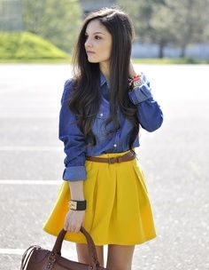 #chambray top with a mustard skirt