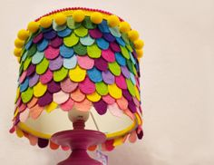 Rainbow felt lampshade by Gingerface, Etsy