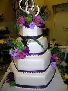 Purple Peacock Wedding Cake