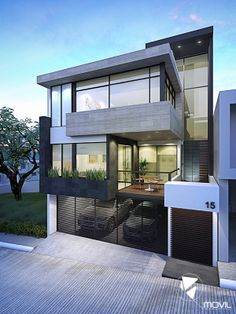 Beautiful Minimalist Architecture House in a Sloped Lot - Top House Designs Unique House Design, Tiny House Design, Cool House Designs, Villa Design, Facade Design, Exterior Design, Minimalist Architecture, Modern Architecture House, Architecture Design