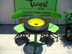 John Deere tractor green and yellow glass top tire table with 2 vintage industrial adjustable drafting chairs on Etsy, $425.00