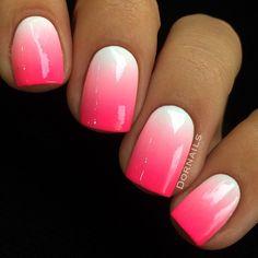 summer french nails Half Up Pink Ombre Nails, Metallic Nails, Pastel Nail, Ombre Nail Designs, Acrylic Nail Designs, Pedicure Designs, Cute Nails, Pretty Nails, Summer French Nails