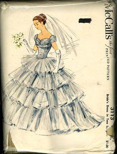 1950s wedding dress pattern #vintage #bridal