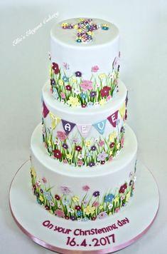 Summer Meadow Christening Cake by Ellie @ Ellie's Elegant Cakery