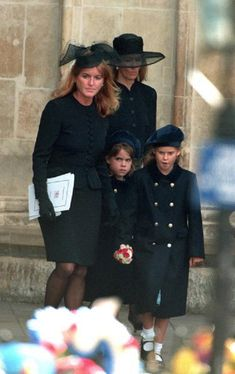 Sarah Ferguson, Duchess of York leaving Westminster Abbey with her two daughters Eugenie and Beatrice and her mother Susan Barrantes in 1997. This was for Princess Diana's funeral