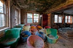"""Discarded """"bubble"""" chairs at Trenton State Hospital, the nation's first Kirkbride Hospital, which at the time (late 1800s) was a new concept using """"Moral Treatment"""" to care for the mentally ill."""