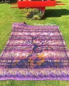 KHADI PURPLE TREE OF LIFE THROW / WALL HANGING /TAPESTRY
