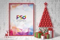 Free Christmas Poster PSD Mockup | PSD Graphics | #free #photoshop #mockup #psd #christmas #poster