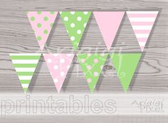 Birthday Party Docorative Banner Pink Green Polka by ArigigiPixel, $5.99
