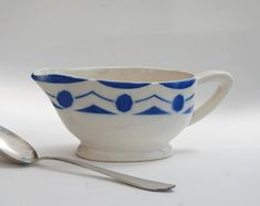 Antique gravy boat, sauce boat  Ceramic Sarreguemines Digoin  French antique 1940s  Blue and white with a modern pattern Serie Ciboulette You