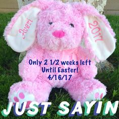 Personalized embroidered 2018 stuffed easter bunny easter gift personalized embroidered 2018 stuffed easter bunny easter gifteaster basketnew baby giftbaby shower giftbaby boy baby girl8 colors negle Gallery