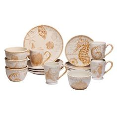 Product Image for Certified International Coastal Discoveries 16-Piece Dinnerware Set in Ivory/Gold 2 out of
