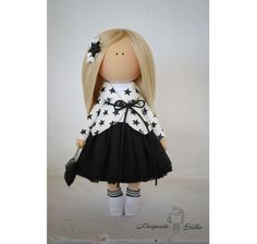 Baby doll in handmade white black blonde by AnnKirillartPlace