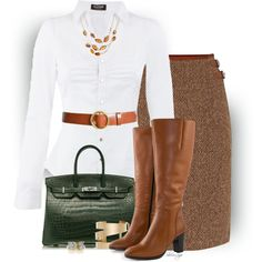 A fashion look from September 2015 featuring Morgan blouses, Lauren Ralph Lauren skirts и Jilsen Quality Boots boots. Browse and shop related looks.