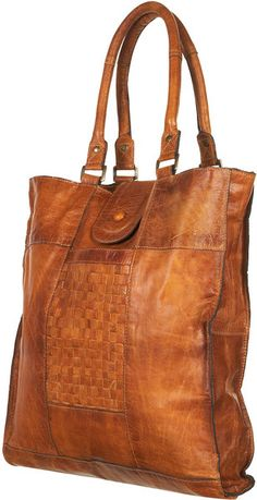 Leather Woven Panel Tote Bag