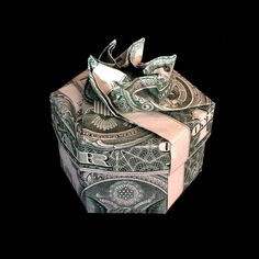 Money Origami Hexagonal Ring BOX with Lid Made of Two Real 1 Dollar Bills - Perfect Gift by trinket2shop on Etsy