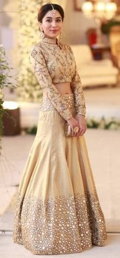 Here's our pick of the best sangeet outfits for the Indian bride of Pakistani Dresses, Indian Dresses, Indian Outfits, Red Lehenga, Lehenga Choli, Sarees, Bridal Lehenga, Sabyasachi Lehengas, Lehenga Style