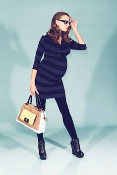Striped Cowl Neck Maternity Dress With Pleather Trim | Maternity Clothes and Nursing Clothes www.duematernity.com