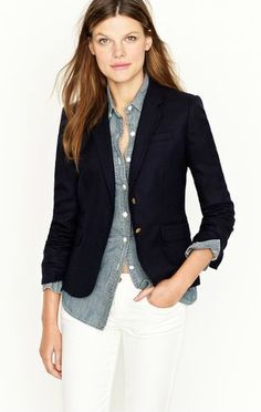 J-Crew Navy Schoolboy Blazer; this outfit with brown boots and purse, gold jewelry for fall