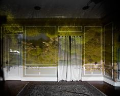 Camera Obscura image - love the billowing curtain and the upside down view of the exterior landscape. Real but dream-like...