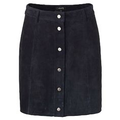 Mbym Blue Suede Buttoned Skirt: Navy suede skirt by Danish designer MbyM. A fine and feminine length, falling just above the knees. A simple, yet chic design which can easily slip into every woman's wardrobe. Features button fastenings and belt loops.