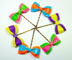 Two Color neon Duct Tape Bow Bobby Pins  Rainbow by QuietMischief, $27.00