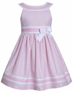 Pink White Metallic Stripe Yoke Neckline Linen Dress PK2BA, Pink, Bonnie Jean Little Girls 2T-6X Bonnie Jean,http://www.amazon.com/dp/B00I5159JS/ref=cm_sw_r_pi_dp_Up86sb0C5FF51Y7K