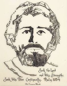 This drawing was in Smelling Coffee blog today. From a distance it appears to be someone's simple drawing of Jesus' face. But upon closer inspection, this picture is full of scenes depicting the life, love, and purpose of Jesus, our Savior and Shepherd.