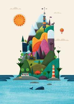 Kids / New Zealand Design Yeah — Brett King // illustration Art And Illustration, Illustrations And Posters, Balloon Illustration, Building Illustration, Creative Illustration, Arte Sharpie, Illustrator, Arte Fashion, Inspiration Art