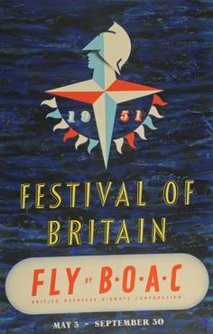 Festival of Britain Fly by BOAC by Abram Games, 1951