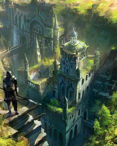 Landscape Concept Art Fantasy Temples Ideas For 2019 Fantasy City, Fantasy Castle, Fantasy Kunst, Fantasy Places, Fantasy Setting, Sci Fi Fantasy, Fantasy World, Fantasy Artwork, Fantasy Art Landscapes