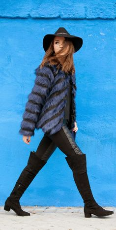 Daily New Fashion : New Chic - Blue My Mind / Fairly Blue Coat with Leather Skinny, Long Boots and Hat by Lovely Pepa