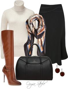 """Smart fall look with great """"Cognac Boots"""" by Orysa Office Fashion, Work Fashion, Fashion Looks, Fashion Outfits, Womens Fashion, Fall Winter Outfits, Autumn Winter Fashion, Business Dress, Business Attire"""