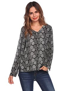 Zeagoo Women's Casual Pattern V Neck Long Sleeve High Low Hem Loose Fit Blouse Top - My Free Spirit Boutique