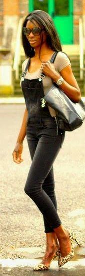 Jennyfer Black Slim Fit Coated Jumpsuit