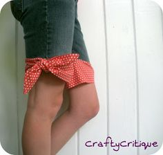 A very cute way to repurpose some old jeans...cute for girls when they get a hole in their jeans too!