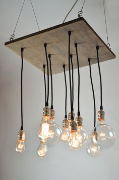 Square Industrial Style Chandelier Light Fixture made from reclaimed wood & Edison bulbs. $495.00, via Etsy. Urban Chandy