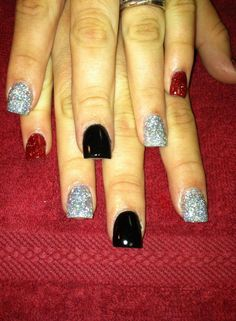 Red Black and Silver nails #redglitter #silverglitter #flatblack #glitter #awesomenails #nailsbyamber