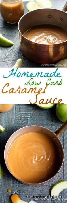 Homemade Low Carb Caramel Sauce is easy to make with just 4 ingredients. | low carb, gluten-free, keto | momcanihavethat.com